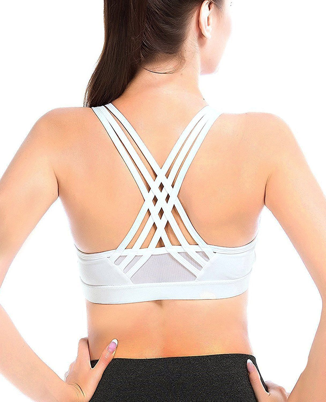 25fea745f429a YIANNA Womens Sports Bra High Impact Cross Back Padded Wireless Workout  Activewear Running Yoga Bra at Amazon Women s Clothing store