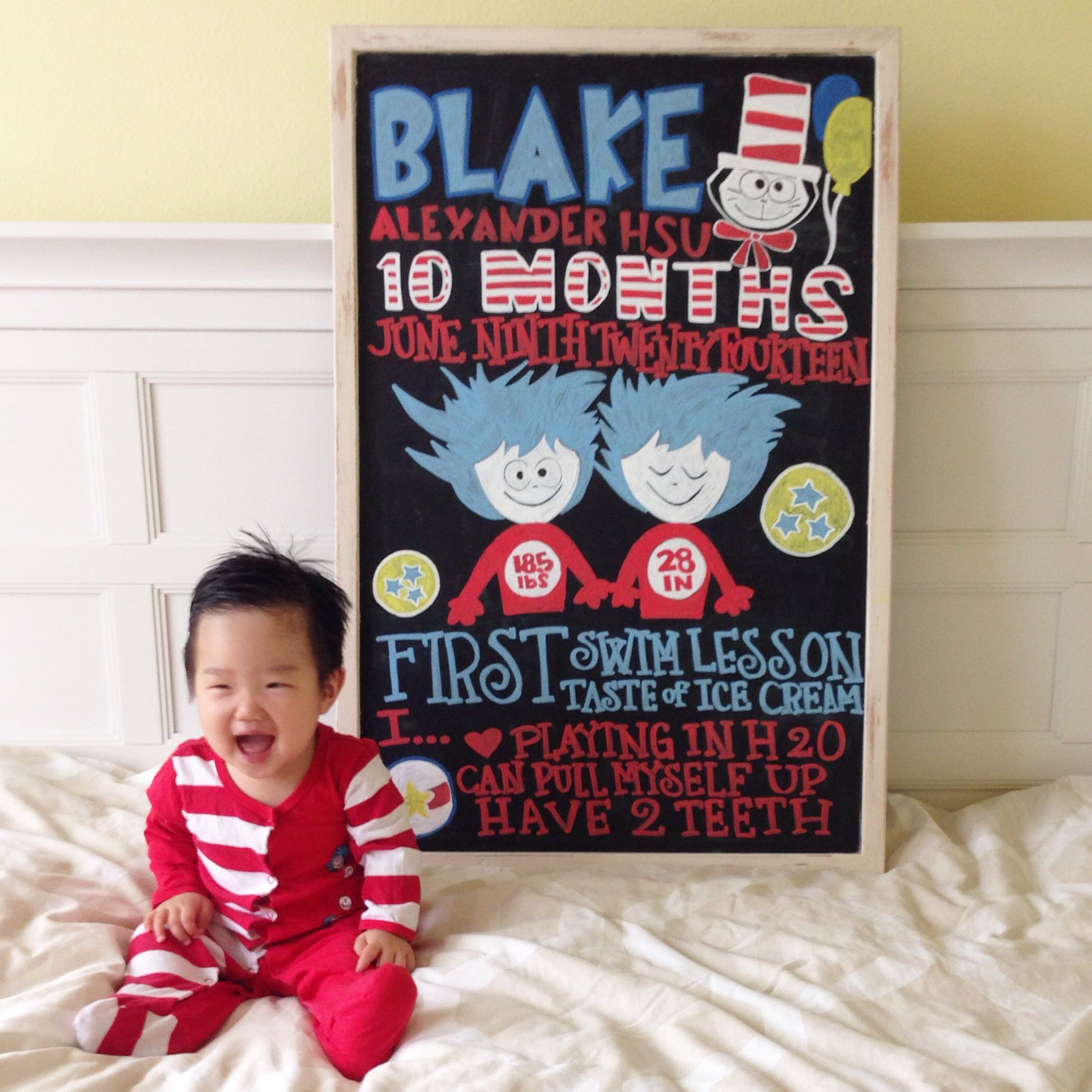 10 Month Old Baby Milestone Photo Dr Seuss Inspired Subway Art Chalkboard Adventuresofblakealexand Baby Milestone Photos Monthly Baby Photos Baby Milestones