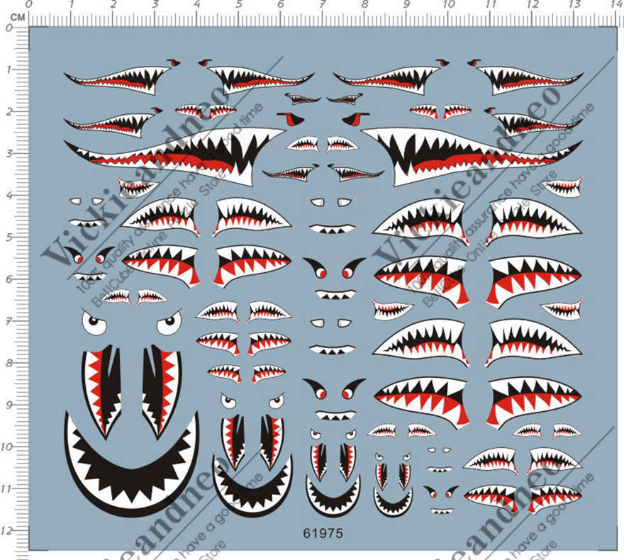 Universal 1 144 1 72 1 48 1 32 Military Aircraft Shark Jaw Model Kit Water Decal Airplane Art Nose Art Military Aircraft