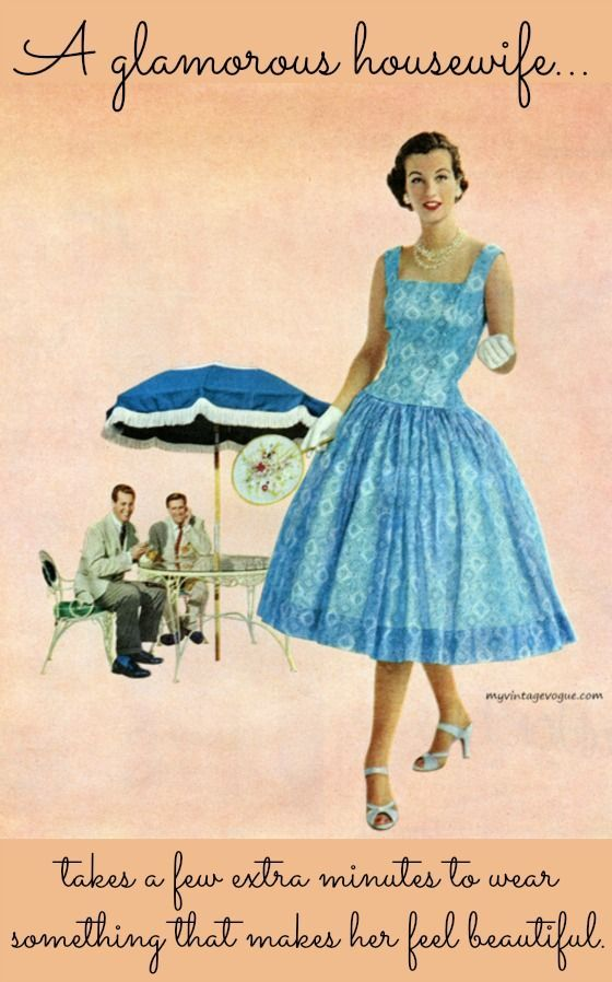 A glamorous housewife takes a few extra minutes to wear something that makes her feel beautiful...