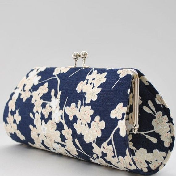 delicate cherry blossom in navy clutch purse $20