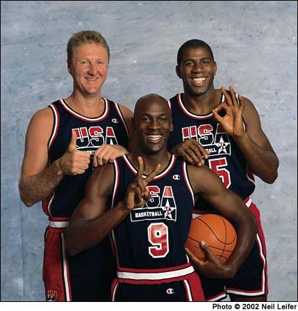 """Larry Bird, Magic Johnson and Michael Jordan of the 1992 United States men's Olympic basketball team, nicknamed the """"Dream Team"""", was the first American Olympic team to feature active NBA players. Considered by many to be the greatest team ever assembled in any sport,[1] it defeated its opponents by an average of almost 44 points en route to the gold medal against Croatia at the 1992 Summer Olympics held in Barcelona"""