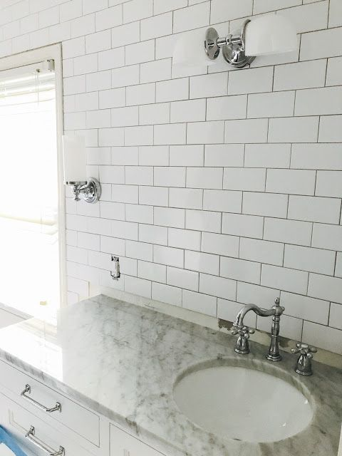 Polished White Carrara Marble Vanity And Pottery Barn Mercer Bathroom Light Fixtures Subway Tile Walls