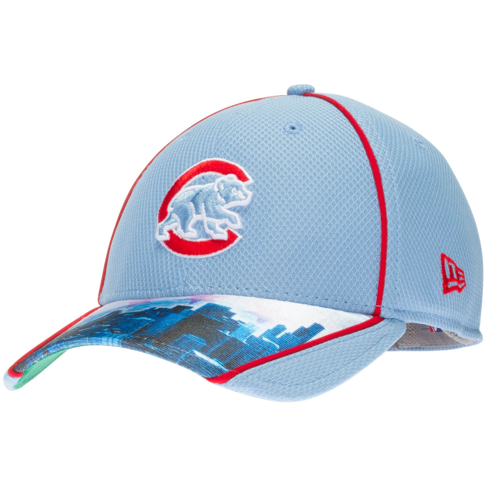 Chicago Cubs Light Blue Crawl Bear Logo and City Scape Bill Flex Fit Hat by  New Era  Chicago  Cubs  ChicagoCubs e597a8a1dec