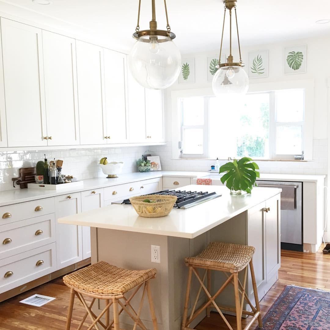 White kitchen. Brass accents, historic home, Quartz countertops ...