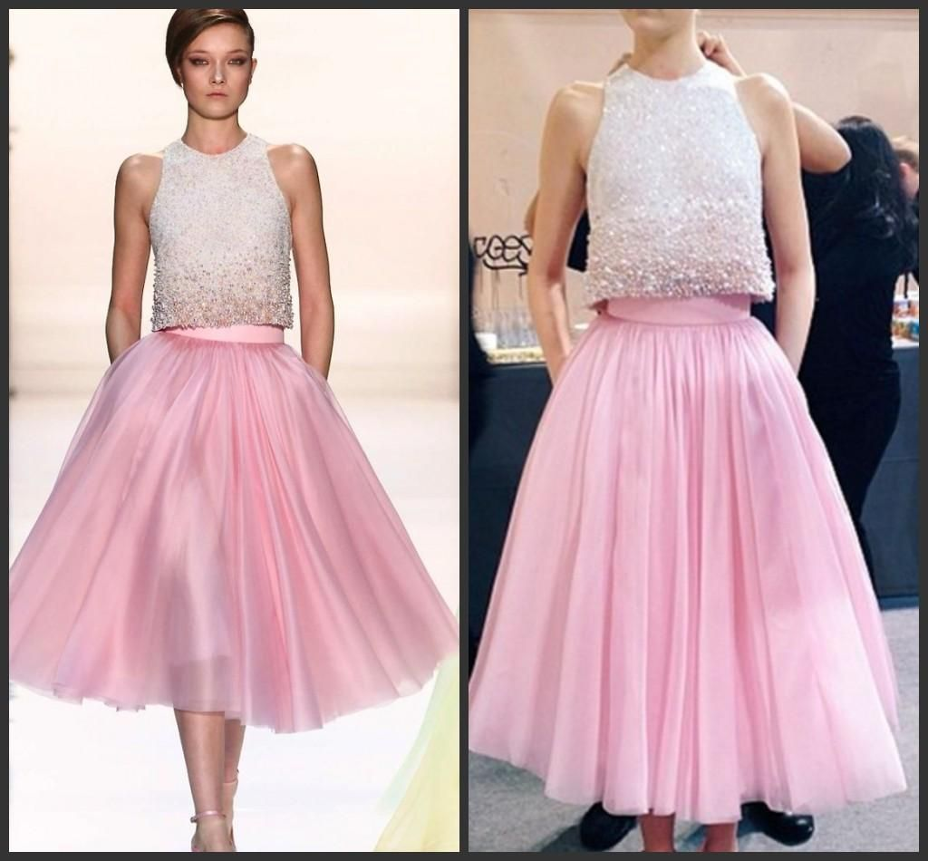 Two Pieces Dress Modern Hot Pink Tea Length Prom Dresses With ...