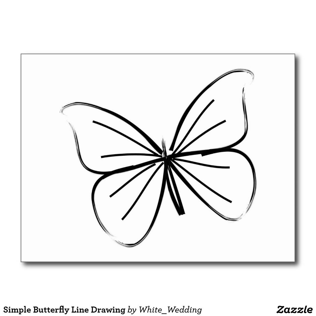 Line Drawing Of Butterfly : Simple butterfly line drawing postcard