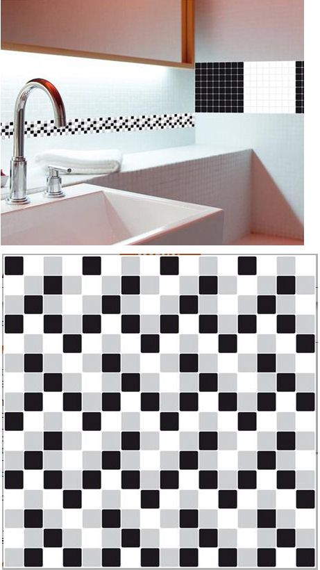 Mosaic Black And White Adhesive Wall Tiles Sticker Outlet