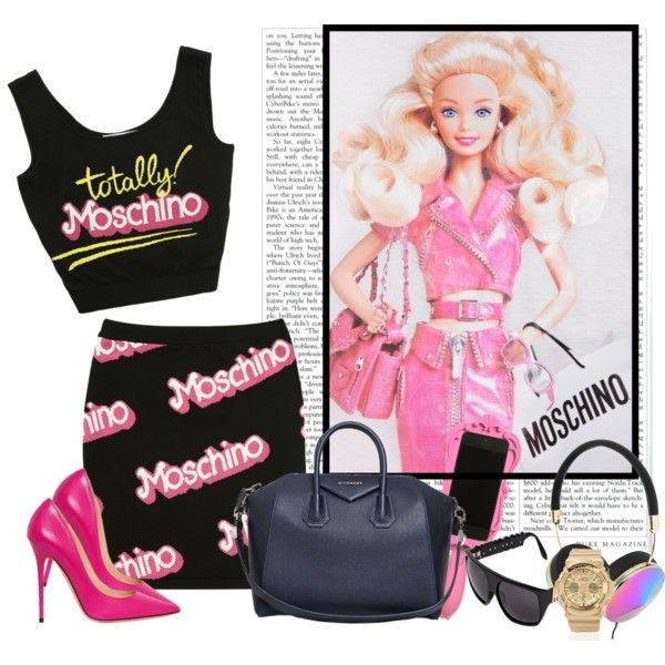 A fashion look from October 2014 featuring Moschino t-shirts, Moschino tops and Moschino mini skirts. Browse and shop related looks.