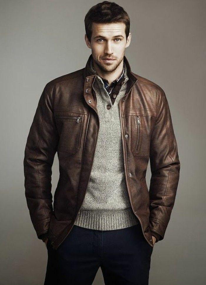 Veste cuir marron clair homme pas cher