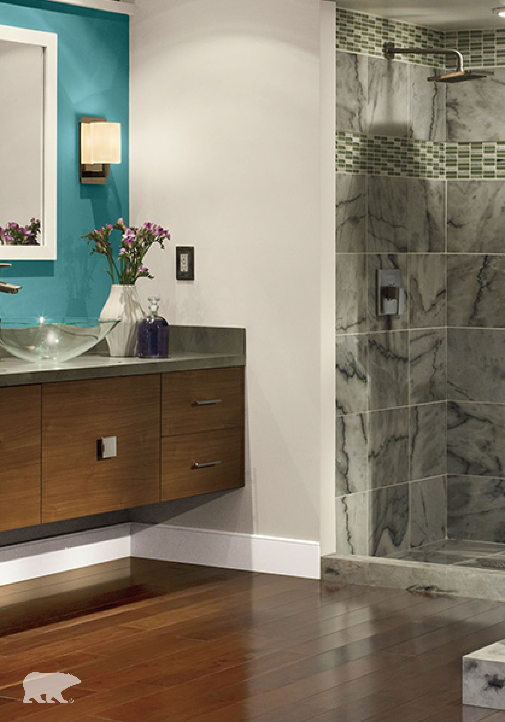 Add an accent wall to your bathroom for an interesting ...