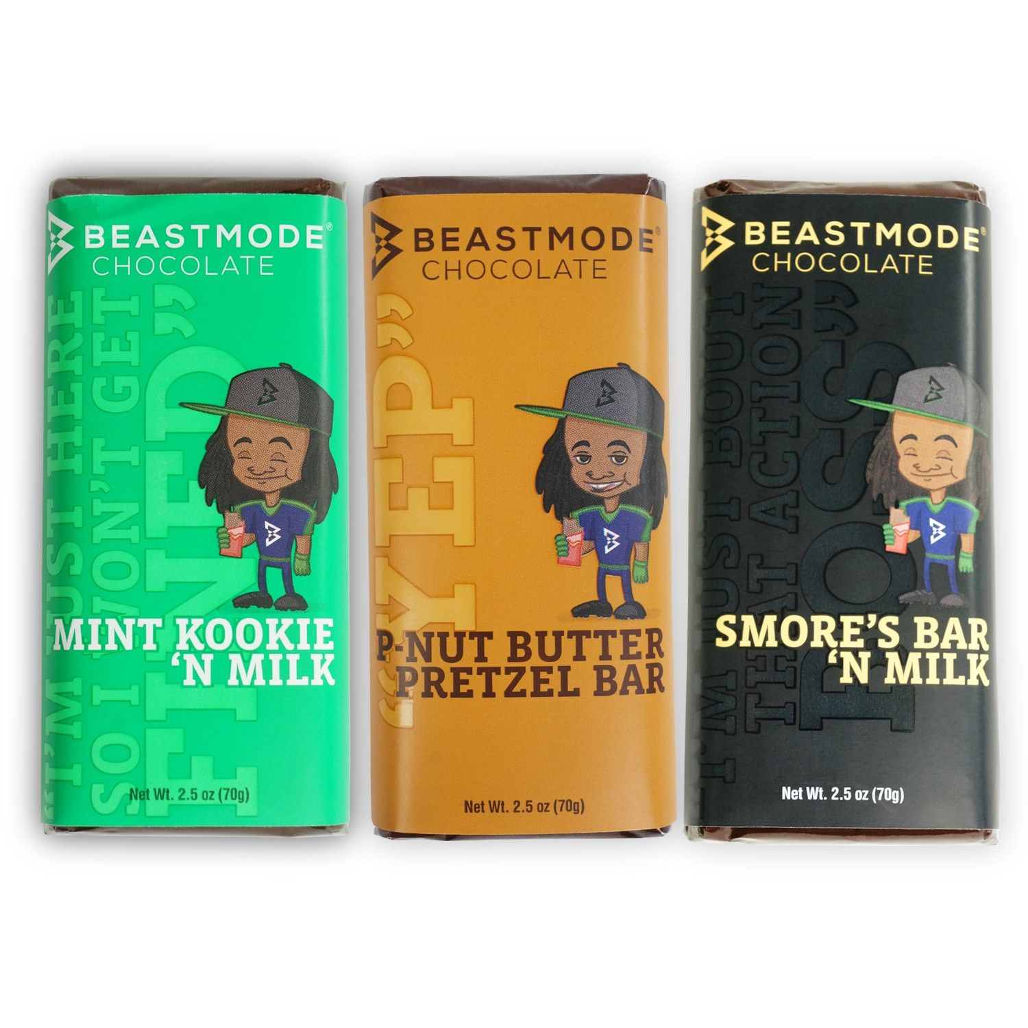 Beast Mode Chocolate Bar Gift Set by Marshawn Lynch. Portion of purchase  goes to Fam First Foundation.