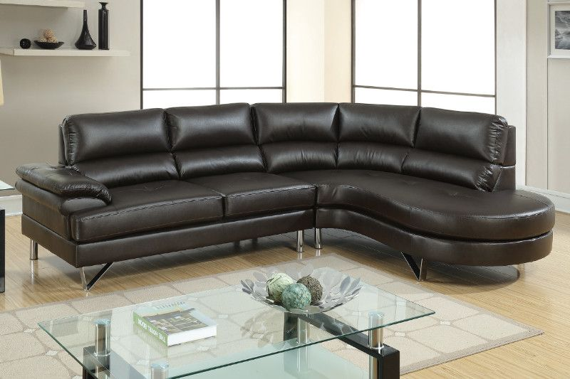 Poundex F6569 2 Pc Madison Espresso Faux Leather Sectional Sofa Set With Rounded Chaise Leather Sectional Sofa Faux Leather Sectional Leather Sectional