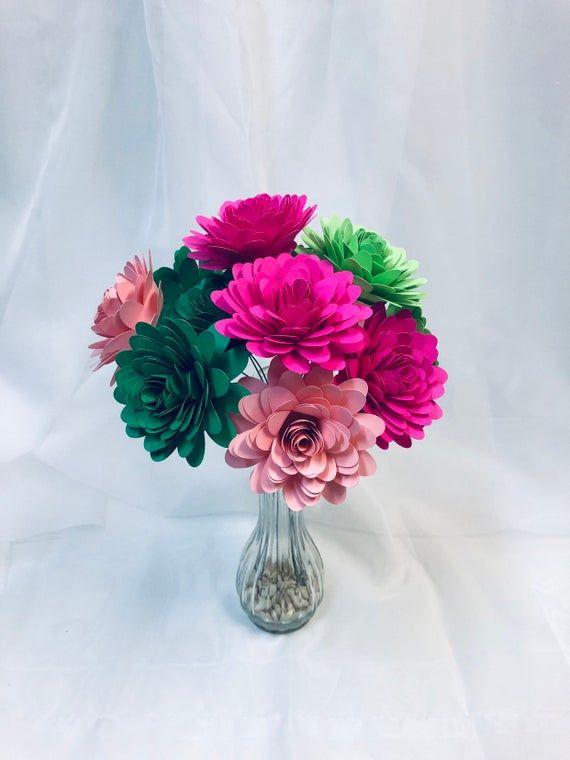Colorful paper flowers, bright floral decor, stemmed flowers, home decor, paper flowers, pink and green flower bouquet #paperflowercenterpieces