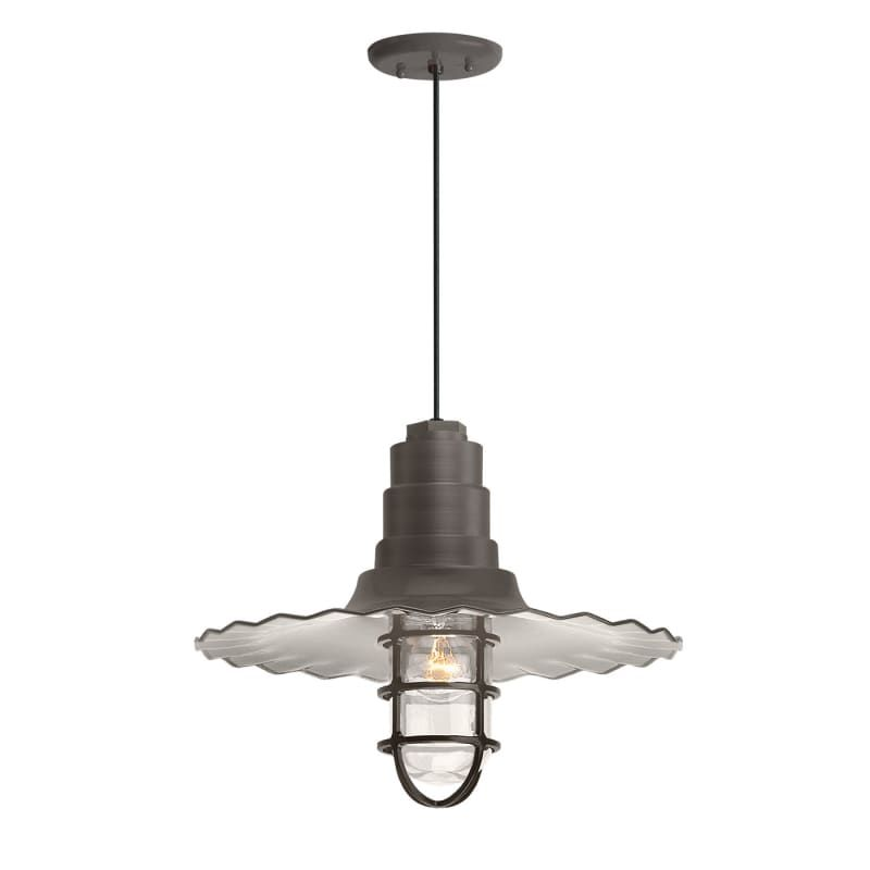 "Troy RLM Lighting RW18MCGG-BC Radial Wave 18"" Wide Single Light Outdoor Pendant Textured Bronze Outdoor Lighting Pendants"