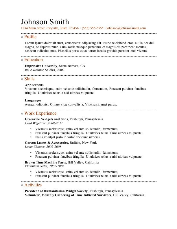 Free Resume Templates  Sample Resume Template And Job Info
