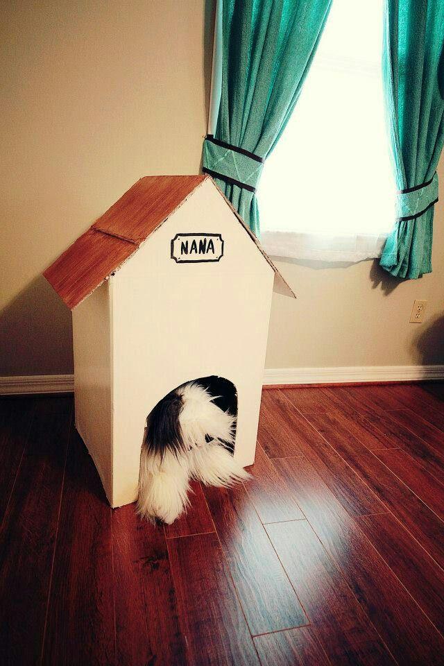 Peter Pan nursery Nana's doghouse made from one cardboard box.