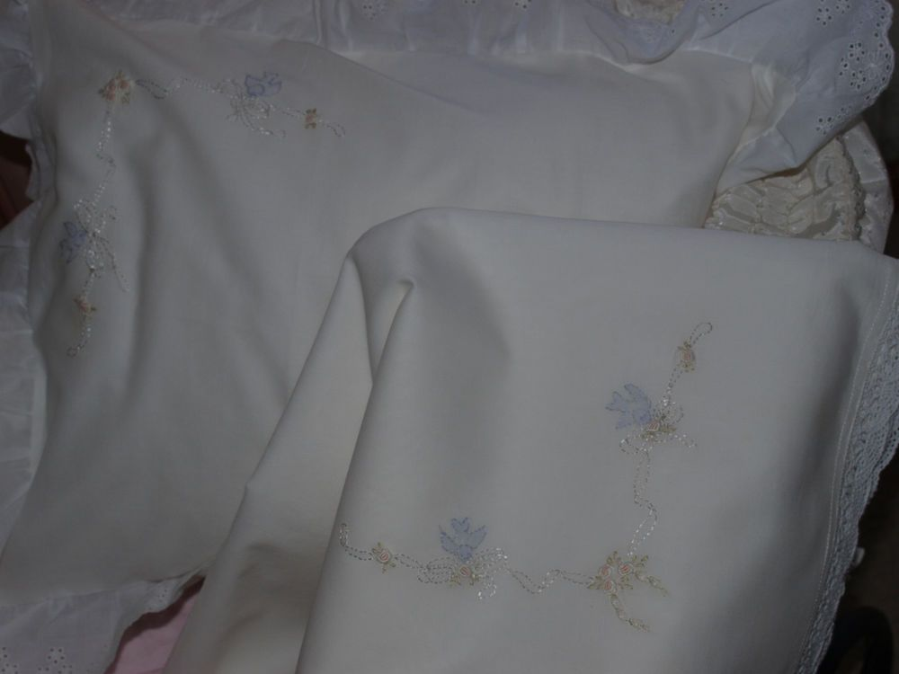 Hand Embroidered White Cotton Voile Baby Wrap & Pillowslip Set