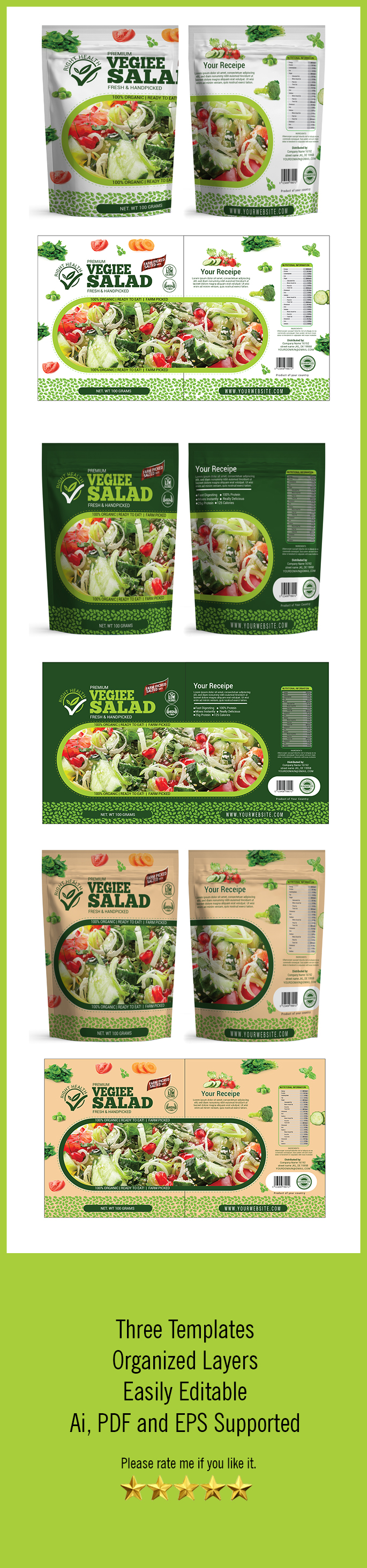 Salad Packaging Templates – Packaging Seller