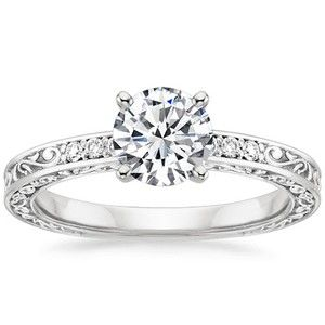 18K White Gold Delicate Antique Scroll Diamond Ring engagement
