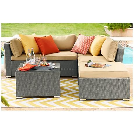 montauk 5 pc all weather light wicker sectional sofa set porch rh pinterest com