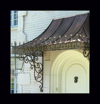 Custom Made Decorative Antique Copper Awning With Wrought Iron Scroll Brackets