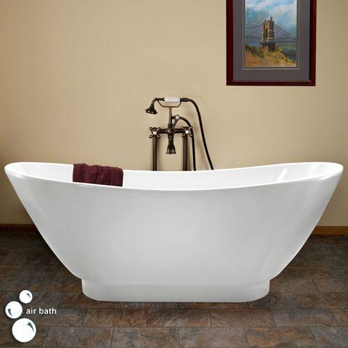 70 Curved Double Slipper Acrylic Air Bath Tub On Short Plinth