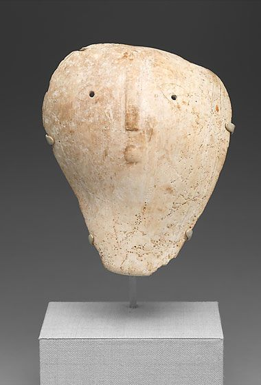 shell maskette gorget. 13th–14th century         United States, Williams Island reportedly, Tennessee. Mississippian culture