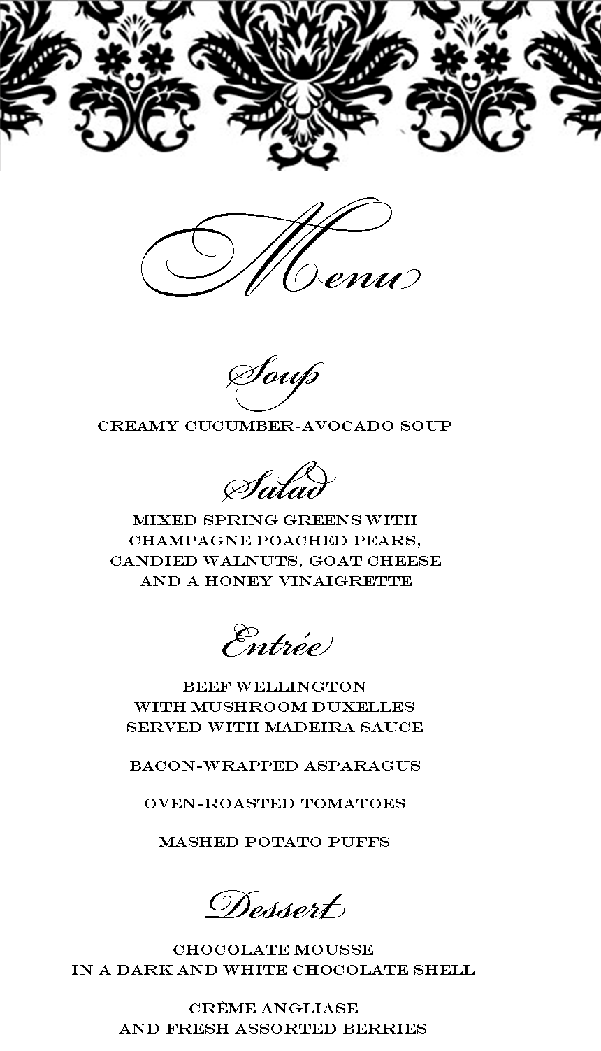 Lovely Elegant Dinner Party Menu | Beef Wellington  Formal Dinner Menu Template