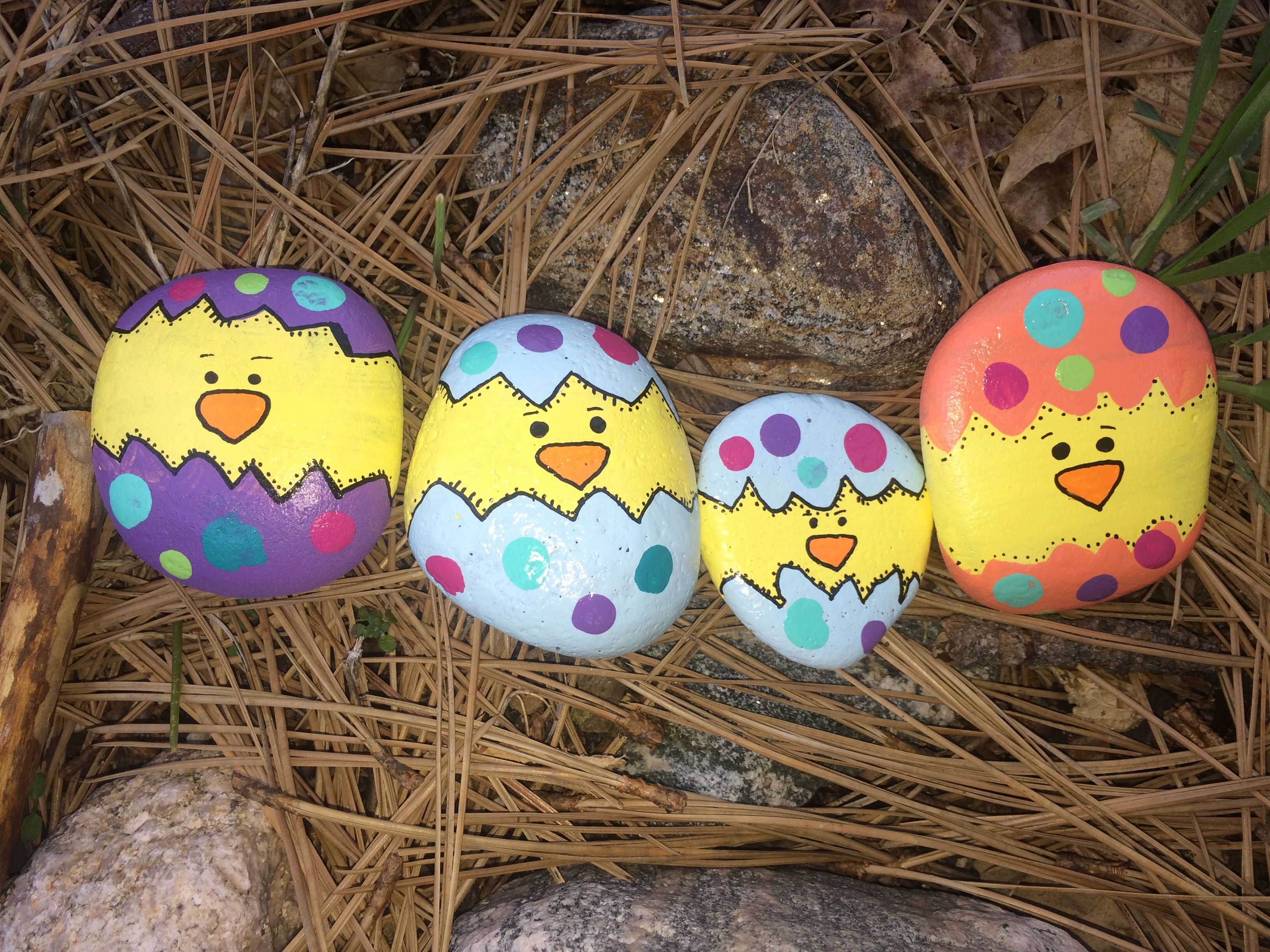 Baby Chicks Easter Chicks In Eggs Painted Rocks Rock Crafts
