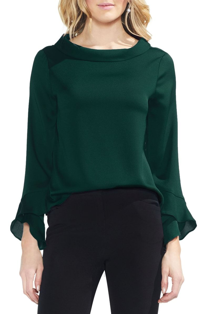 3ce96afb75f3fa Flutter Cuff Hammered Satin Blouse, Main, color, HUNTER | window ...