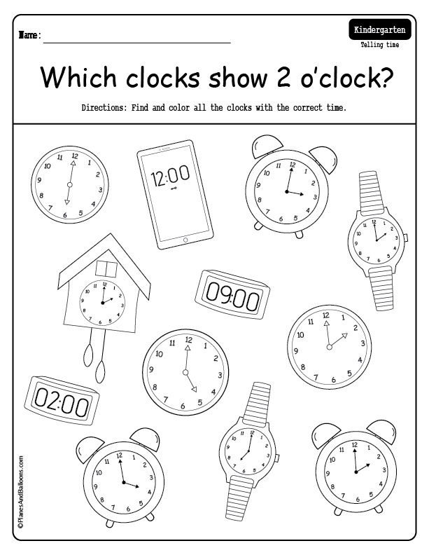 Telling time to the hour worksheets Time to the hour