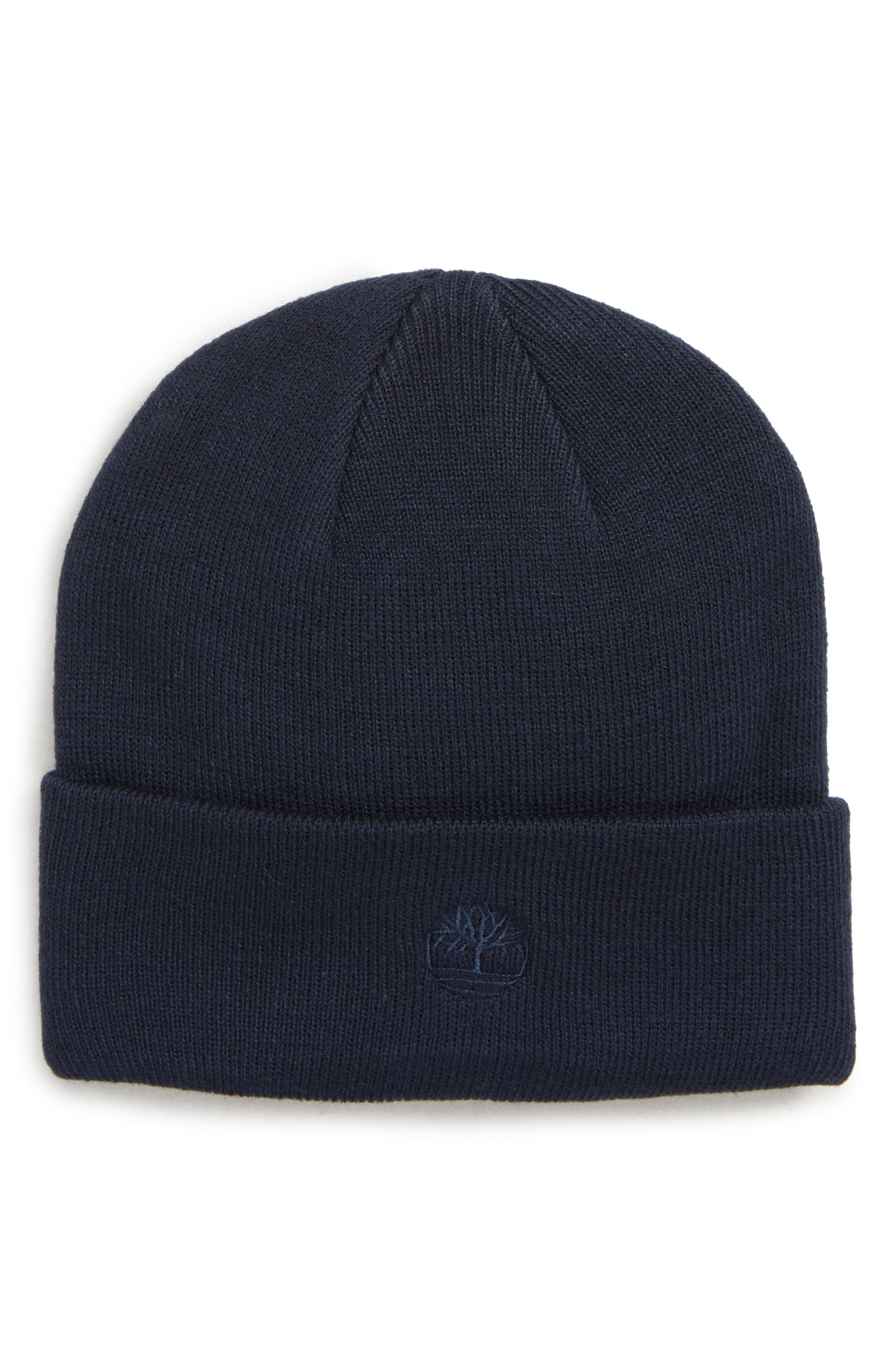 TIMBERLAND EMBROIDERED LOGO CUFF BEANIE - BLUE.  timberland ... 1990df9bc09c