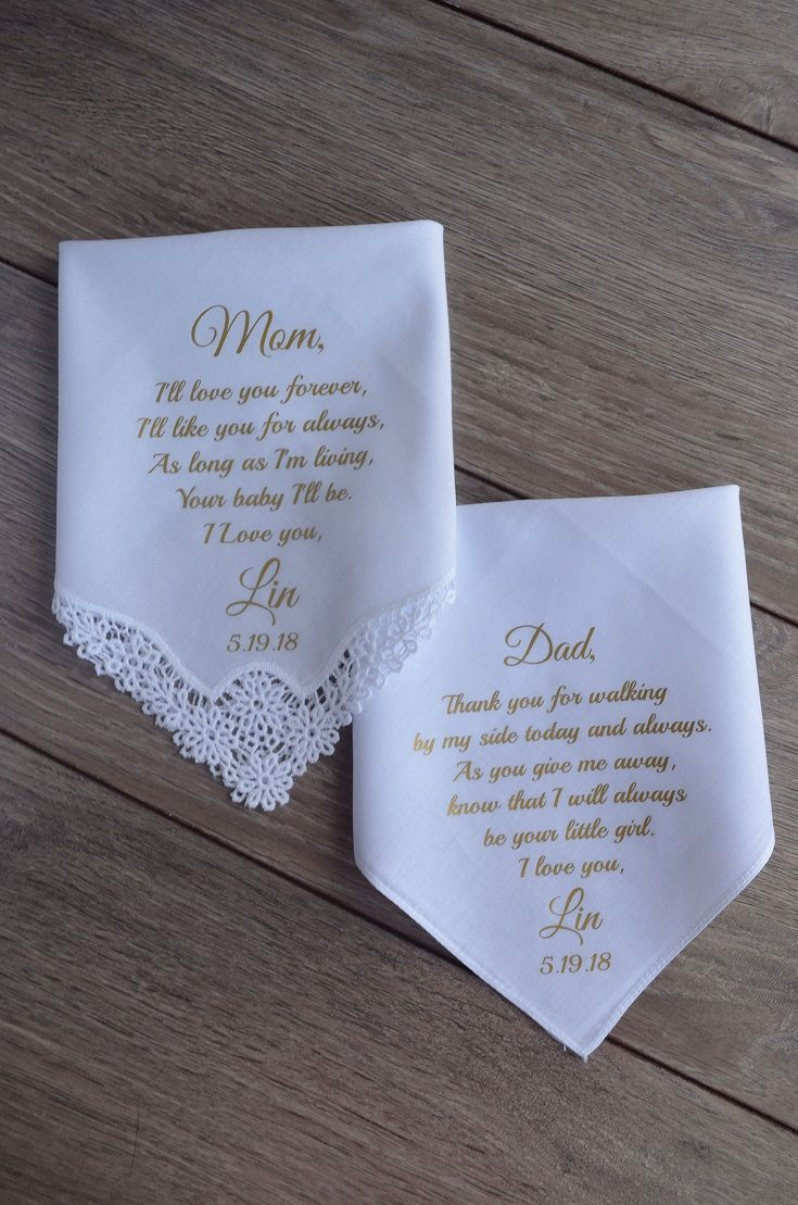 Wedding gift to parents set handkerchiefs father of the bride mother of the bride gift personalized wedding hankies