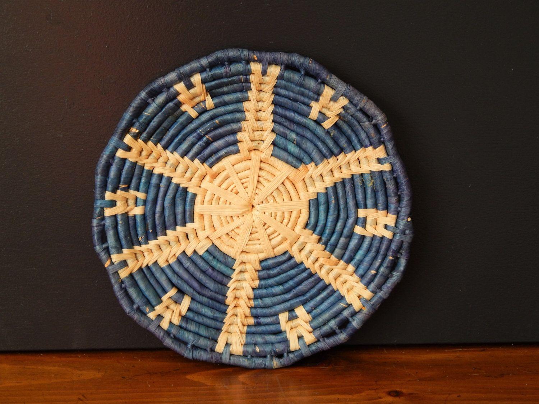 Vintage Blue Woven Tray/ Blue Bohemian Tray/Handmade Round Tray ...