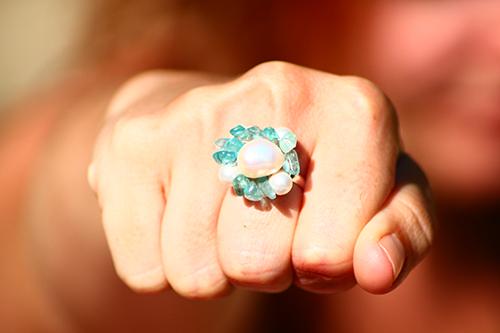 Pearl & Aquamarine Ring £22 at www.lolaandi.co.uk.  Makes me think of mermaids... what do you think? #rings
