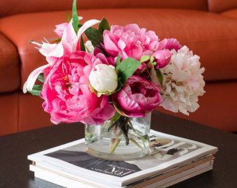 Items i love by danand77 on etsy decor pinterest flowers silk peonies arrangement with casablanca lily fuchsia pink peonies silk flowers artificial faux in glass vase for home decor mightylinksfo