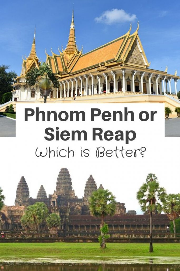 Which is Better Phnom Penh or Siem Reap?    Phnom Penh and Siem Reap are both cities in Cambodia but offer a very different vibe to visitors.    With Phnom Penh been the capital of Cambodia has a big city feel whereas Siem Reap a bit more relaxed atmosphere but can feel very touristy at times. Which to visit?  | phnom penh cambodia photography | diem reap cambodia photography | phnom penh things to do in | siem reap things to do in |  phnom penh city #cambodia #siemreap #phnompenh #visitcambodia