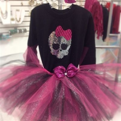 Monster high Sequin birthday tutu outfit for your tween. www.stylotutuboutique.com  #stylotutuboutique #glittertutu #personalized #tween  #monsterhigh #monsterhighparty