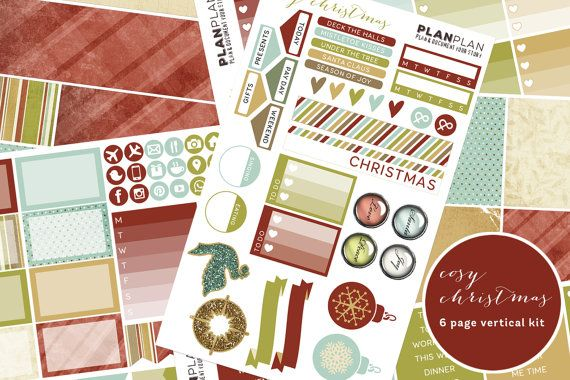 Cosy Christmas Vertical Planner Sticker Kit by Planplanuk