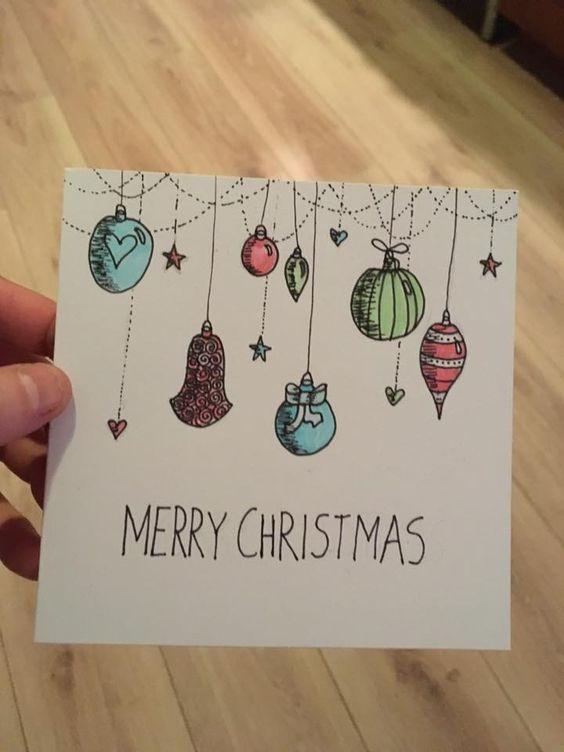 Einfache Weihnachtskarten für Kinder mit kleinem Budget - Kugelverzierungen