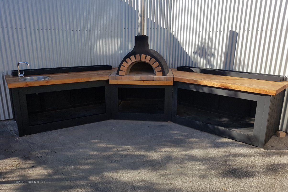 Outdoor Corner Kitchen By Love Outdoor Kitchens Yard Remodel Pizza Oven Outdoor Kitchen Outdoor Kitchen