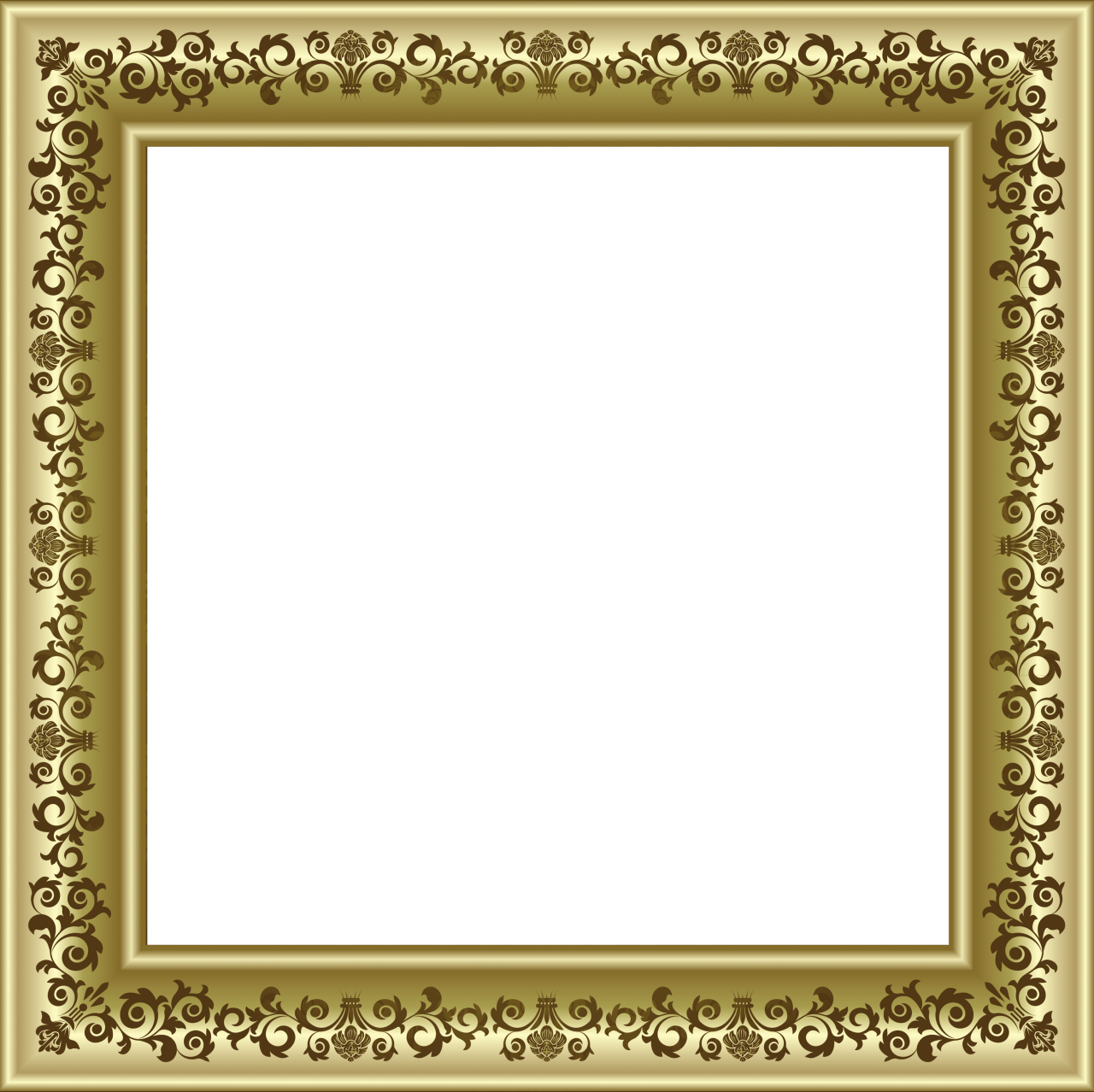 gold photo frame png with brown ornaments