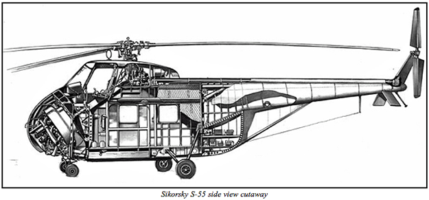 cutaway drawing of the sikorsky s 55 h 19 ho4s hrs note the rearward facing angled placement. Black Bedroom Furniture Sets. Home Design Ideas
