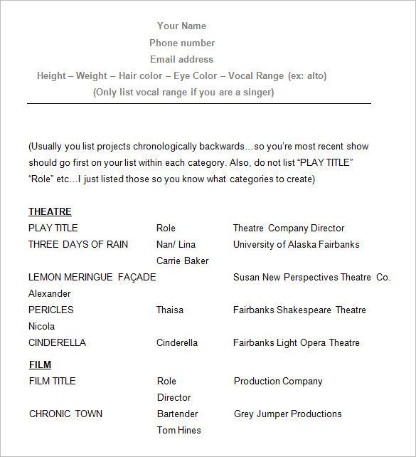 Sample Acting Resume How To Create A Good Acting Resume Template