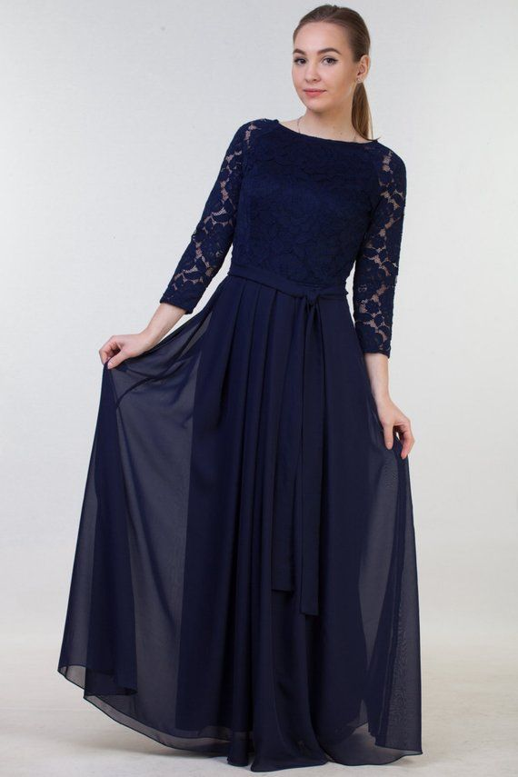 Long Navy Blue Bridesmaid Dress With Sleeves Modest Lace Prom Dress