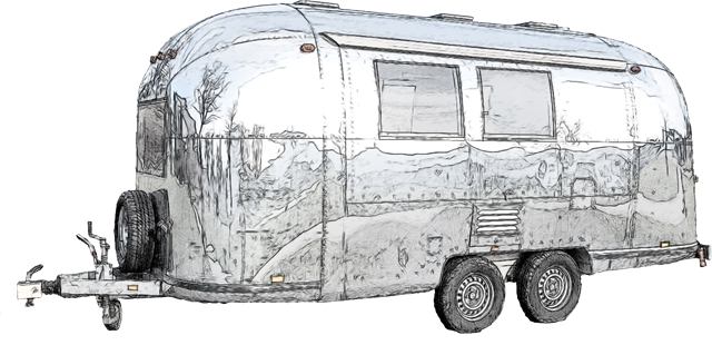 Digitized Sketch From Photo Of Old Caravan At Vitra Design Museum Weil Am Rhein Germany