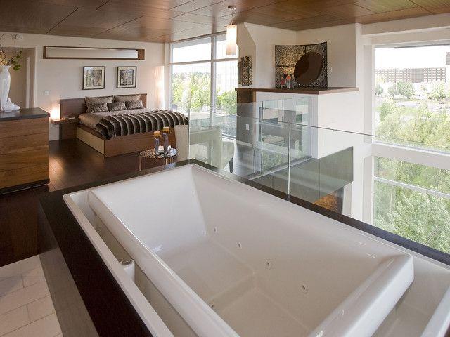 25 Sensuous Open Bathroom Concept For Master Bedrooms is part of Modern bedroom Loft - Go through our latest gallery of 25 sensuous Open Bathroom Concept for Master Bedrooms and get inspired