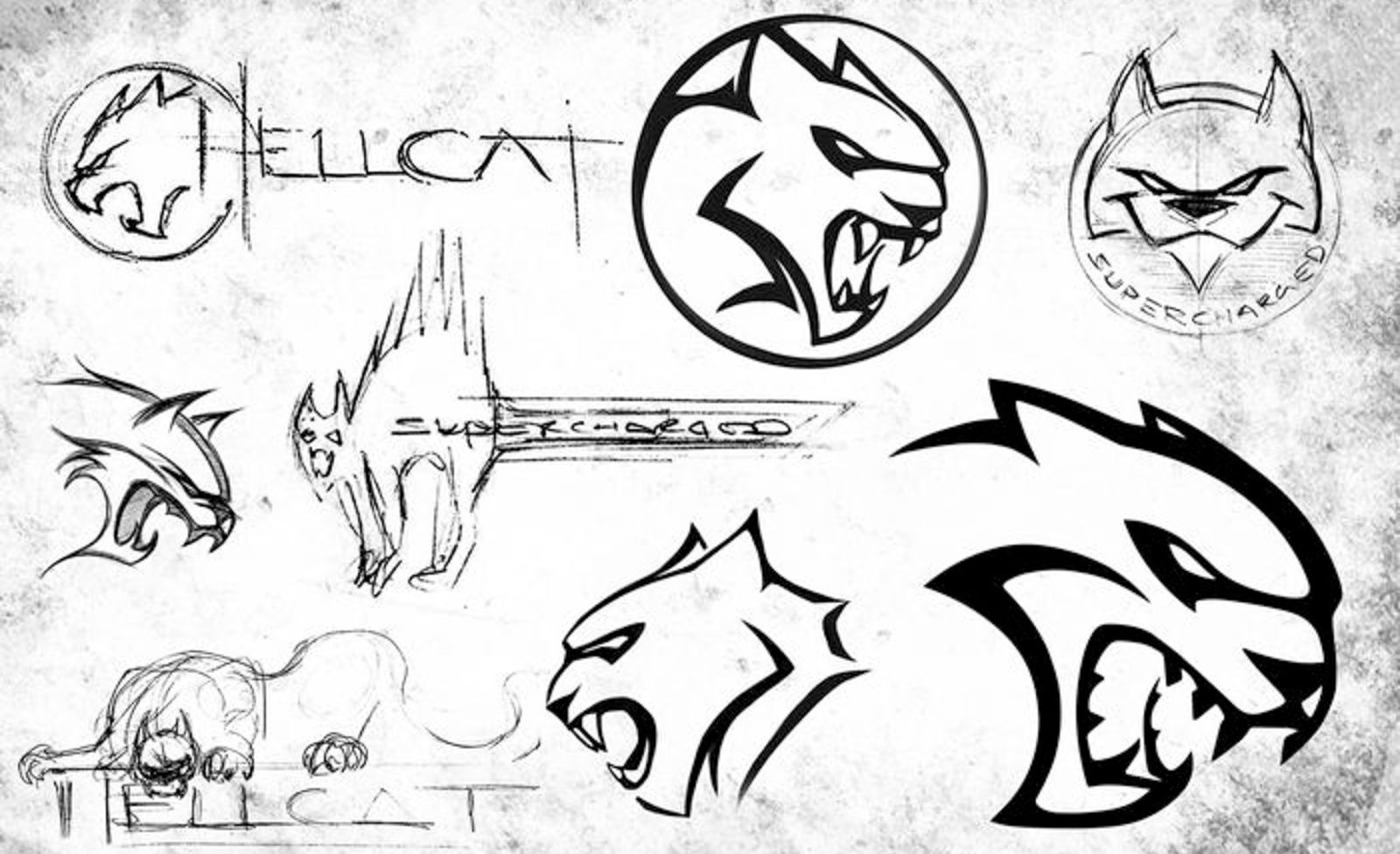 The Sketches That Evolved Into The Dodge Hellcat Logo