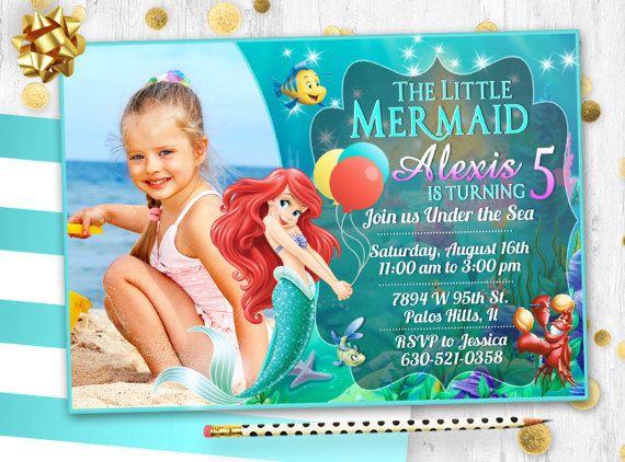 Pequeña Sirena Ariel Tarjeta De Invitación De Cumpleaños